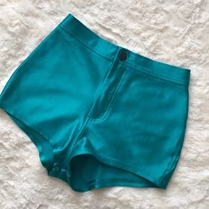 AMERICAN APPAREL women's TEAL Disco Shorts S
